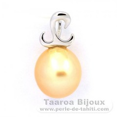 Rhodiated Sterling Silver Pendant and 1 Australian Pearl Semi-Baroque B 9.7 mm