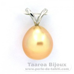 Rhodiated Sterling Silver Pendant and 1 Australian Pearl Semi-Baroque C 10.3 mm
