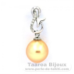 Rhodiated Sterling Silver Pendant and 1 Australian Pearl Semi-Baroque C 9.6 mm