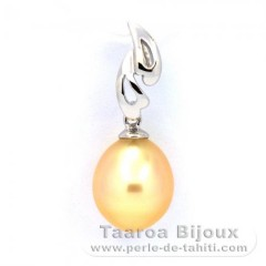 Rhodiated Sterling Silver Pendant and 1 Australian Pearl Semi-Baroque C 9.3 mm