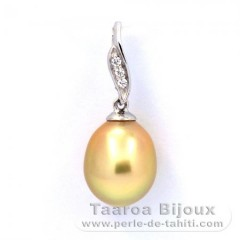 Rhodiated Sterling Silver Pendant and 1 Australian Pearl Semi-Baroque C 9.1 mm