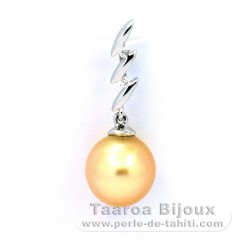 Rhodiated Sterling Silver Pendant and 1 Australian Pearl Semi-Baroque C 9.4 mm