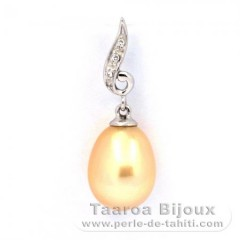 Rhodiated Sterling Silver Pendant and 1 Australian Pearl Semi-Baroque C 9 mm
