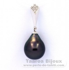14K solid White Gold Pendant + 4 Diamonds 0.02 carats VS1 and 1 Tahitian Pearl Semi-Baroque A 9.9 mm