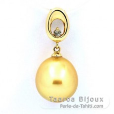 14K solid Gold Pendant + 1 Diamond 0.04 carats VS1 and 1 Australian Pearl Semi-Baroque A 11.2 mm