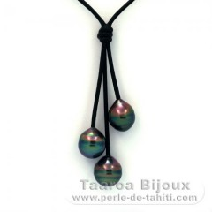 Leather Necklace and 3 Tahiti Pearls Ringed C+  9.9 to 10.3 mm