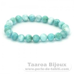 Bracelet of 23 Larimar Beads - 15.5 cm - 15.4 gr
