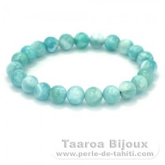Bracelet of 23 Larimar Beads - 17 cm - 18.3 gr