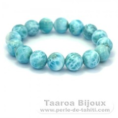 Bracelet of 16 Larimar Beads - 18 cm - 66.8 gr