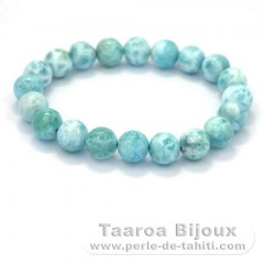 Bracelet of 21 Larimar Beads - 15 cm - 19.7 gr
