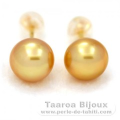 18K solid Gold Earrings and 2 Australian Pearls Semi-Baroque B 8.9 mm