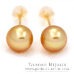 18K solid Gold Earrings and 2 Australian Pearls Semi-Round B 8.3 mm