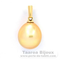 18K solid Gold Pendant and 1 Australian Pearl Semi-Baroque B 10.4 mm