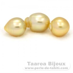 Lot of 3 Australian Pearls Semi-Baroque C from 11.5 to 11.9 mm