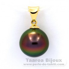 18K solid Gold Pendant and 1 Tahitian Pearl Near-Round B+ 10.3 mm