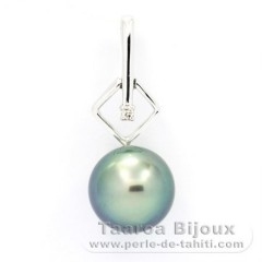 14K Solid White Gold + 1 diamond 0.01 carat VS1 and 1 Tahitian Pearl Round B 9.2 mm