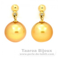 18K solid Gold Earrings and 2 Australian Pearls Semi-Round B 8.7 mm