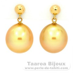 18K solid Gold Earrings and 2 Australian Pearls Semi-Baroque B and C 11.2 mm