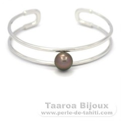 Rhodiated Sterling Silver Bracelet and 1 Tahitian Pearl Round B 9.5 mm