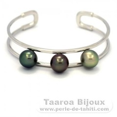 Rhodiated Sterling Silver Bracelet and 3 Tahitian Pearls Semi-Round B 9.9 mm