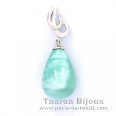 Rhodiated Sterling Silver Pendant and 1 Larimar - 15 x 10.2 mm - 2.4 gr