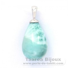 Rhodiated Sterling Silver Pendant and 1 Larimar - 15 x 10.2 mm - 2.2 gr