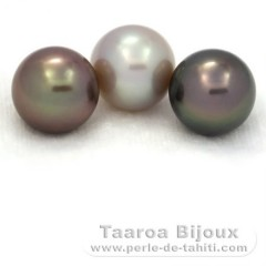 Lot of 3 Tahitian Pearls Round C from 11.3 to 11.4 mm