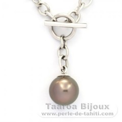 Rhodiated Sterling Silver Bracelet and 1 Tahitian Pearl Round C 10.7 mm