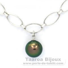 Rhodiated Sterling Silver Bracelet and 1 Tahitian Pearl Round C 10.4 mm