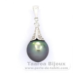 Rhodiated Sterling Silver Pendant and 1 Tahitian Pearl Semi-Baroque B 10.6 mm
