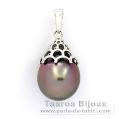 Rhodiated Sterling Silver Pendant and 1 Tahitian Pearl Semi-Baroque C 11.6 mm