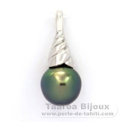 Rhodiated Sterling Silver Pendant and 1 Tahitian Pearl Semi-Baroque B+ 10.1 mm