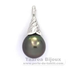 Rhodiated Sterling Silver Pendant and 1 Tahitian Pearl Semi-Baroque B 11.1 mm