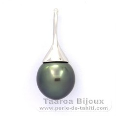 Rhodiated Sterling Silver Pendant and 1 Tahitian Pearl Semi-Baroque B 11.9 mm
