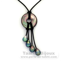 Leather Necklace and 4 Tahiti Pearls Ringed B+ 8.2 to 8.9 mm
