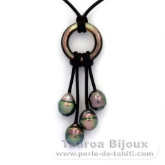Leather Necklace and 4 Tahiti Pearls Ringed B 8.2 to 9 mm