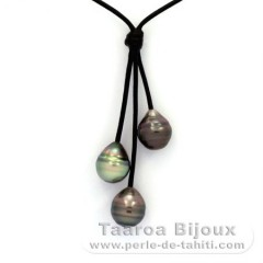 Leather Necklace and 3 Tahitian Pearls Ringed C 10.7 mm