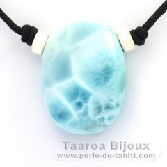 Cotton Necklace and 1 Larimar - 28 x 21 x 10 mm - 11.2 gr