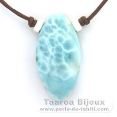 Cotton Necklace and 1 Larimar - 40 x 20 x 9.5 mm - 13.4 gr