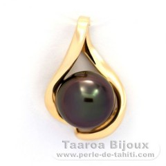 Gold 14k Pendant and 1 Tahitian Pearl Round B+ 9.4 mm