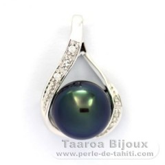 Gold 14k Pendant + 6 diamonds 0.04 carats VS1 and 1 Tahitian Pearl Round B+ 9.3 mm