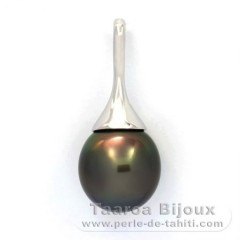 Rhodiated Sterling Silver Pendant and 1 Tahitian Pearl Semi-Baroque B 12.5 mm