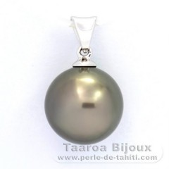 18K Solid White Gold Pendant and 1 Tahitian Pearl Round B 11.5 mm