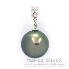 14K solid White Gold Pendant + 6 diamonds 0.04 carats VS1 and 1 Tahitian Pearl Round B 11.8 mm
