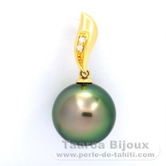 18K solid Gold Pendant + 2 diamonds 0.018 carats VS1 and 1 Tahitian Pearl Round B 12.6 mm