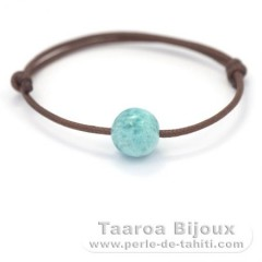 Cotton Bracelet and 1 Larimar - 11.4 mm - 2.6 gr