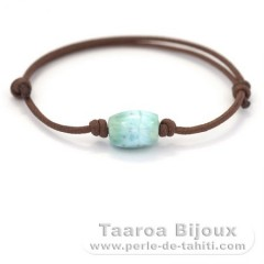 Cotton Bracelet and 1 Larimar - 12 x 9 mm - 2.3 gr