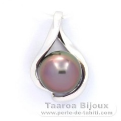 14K Solid White GoldPendant and 1 Tahitian Pearl Round AB 9.4 mm