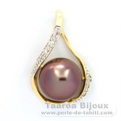 14K Solid Gold Pendant + 6 diamonds 0.04 carats VS1 and 1 Tahitian Pearl Near-Round A 10.1 mm