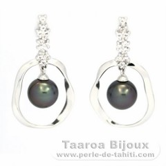 Rhodiated Sterling Silver Earrings and 2 Tahitian Pearls Round C 8.6 mm